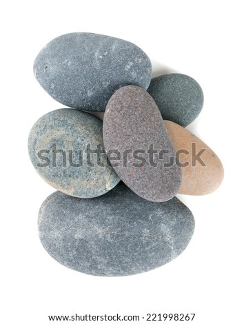 pebbles isolated on white - stock photo