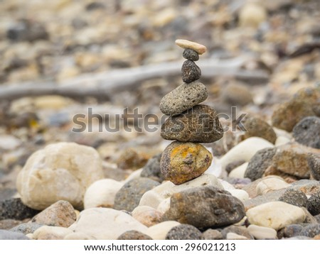 Pebbles on a shingle beach in Smugglers Cove on Santa Cruz Channel Island - stock photo