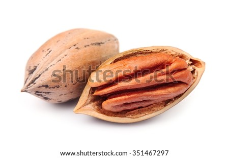 Pecan nuts close up on white background - stock photo