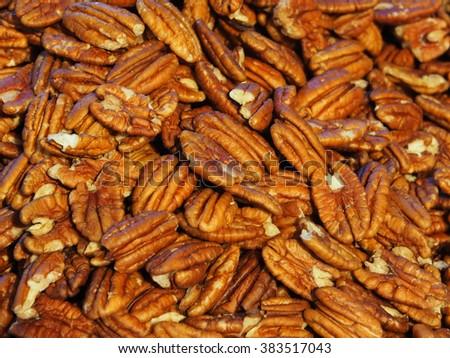 Pecan nuts dry closeup background     - stock photo
