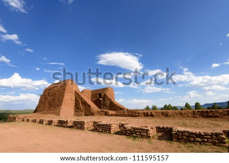 Pecos National Historical Park in the U.S. state of New Mexico. - stock photo