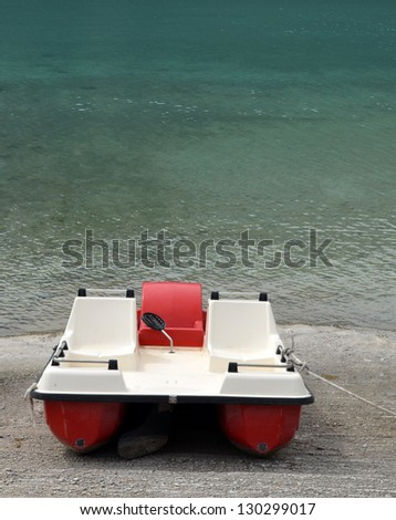 Pedalo at Lake Kournas - stock photo