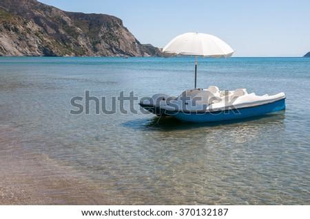 Pedalo at the Kalamaki beach on Zakynthos, Greece - stock photo