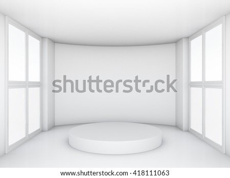 Pedestal in white clean room with windows. Exhibition room. 3d rendering - stock photo