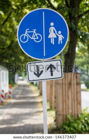 pedestrian and cycle route sign - stock photo