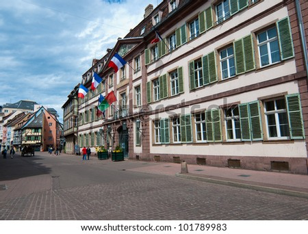Pedestrian area in Colmar old town, Alsace, France - stock photo