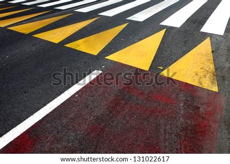 Pedestrian crossing caption on the asphalt street road. - stock photo