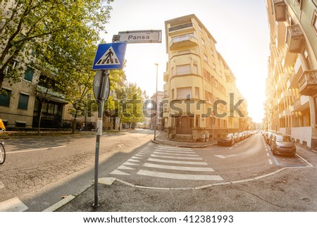Pedestrian crossing in the narrow streets of Italy.Toning - stock photo