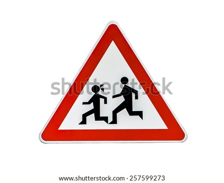 Pedestrian Danger Sign, red triangle safety traffic sign isolate - stock photo