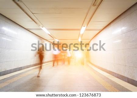 pedestrian in the underground passage - stock photo