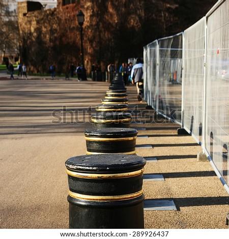 Pedestrian pavement bollards in London  - stock photo