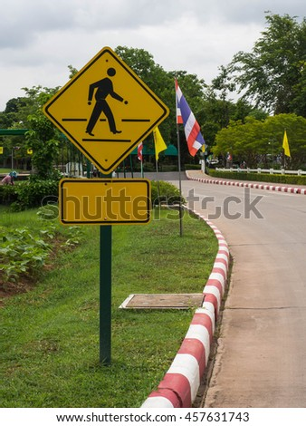 Pedestrian sign at a local road - stock photo