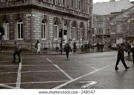 pedestrians crossing - stock photo