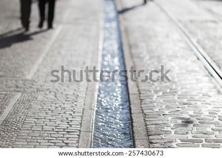 pedestrians in Freiburg, Germany  - stock photo