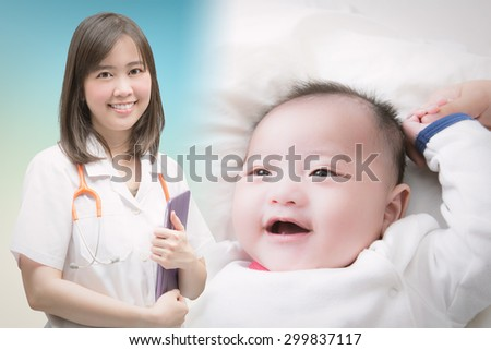 pediatrist with baby boy smiling - stock photo