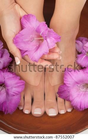 Pedicure and manicure spa - stock photo