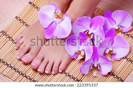 Pedicure. Female feet with pink orchid flowers on bamboo mat. Foot care. Spa - stock photo