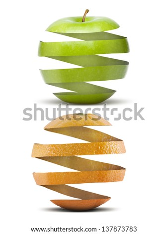 peel of an apple and an orange in the form of fruit - stock photo