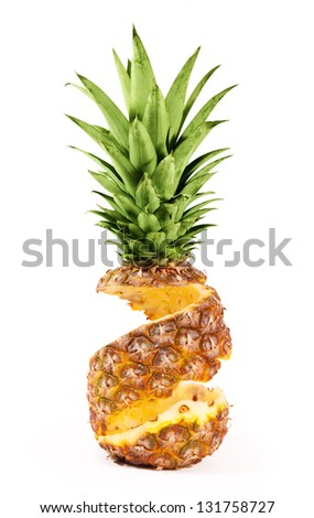 Peel of pineapple isolated on white background - stock photo