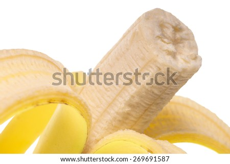 peeled banana over a white background / Banana - stock photo