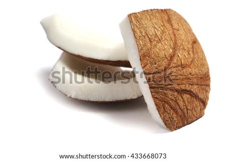 peeled coconut slices - stock photo