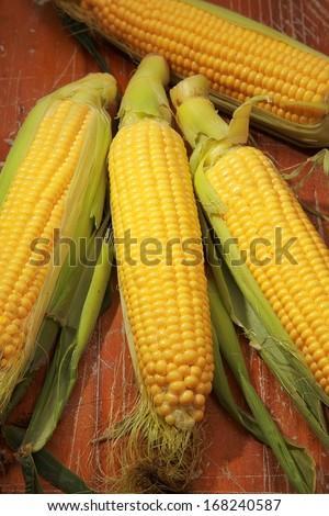 peeled corn on the cob - stock photo