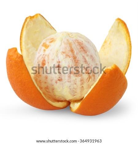 Peeled orange isolated on white background - stock photo