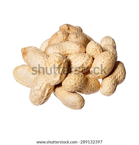 Peeled salted peanuts isolated on white background. - stock photo