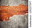 peeled stucco brick wall background - stock photo