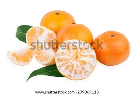 peeled tangerine mandarin fruits isolated on white - stock photo