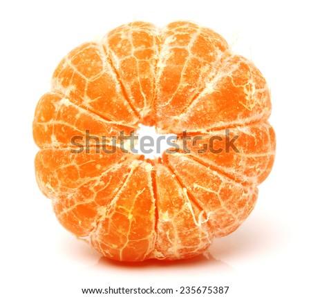 Peeled tangerine or mandarin fruit isolated on white background cutout - stock photo