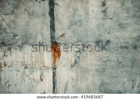 Peeled worn wall surface. Abandoned industrial facility.  - stock photo