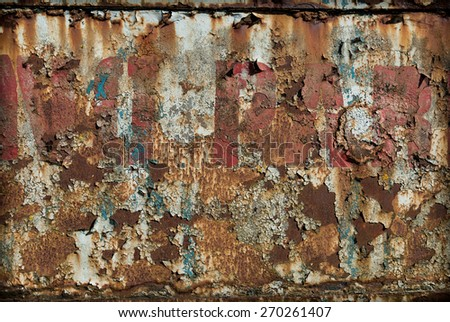 Peeling paint on an old rusty metal sign. - stock photo