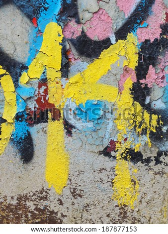 Peeling paint on wall seamless texture, abstract grunge background, number 14 - stock photo