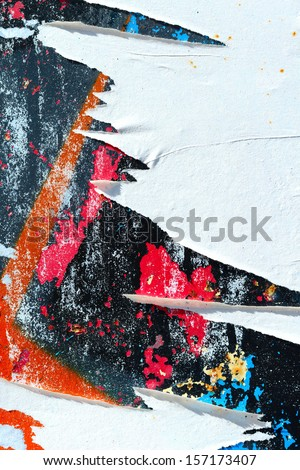 Peeling paint / Torn posters / Grunge background / Abstract / Graffiti / Ripped paper - stock photo