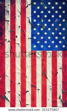 Peeling paint United States flag - stock photo