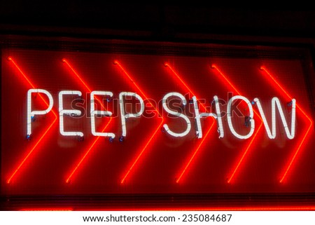 Peep Show sign in Amsterdam - stock photo