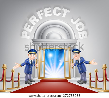 Pefect Job door concept of a doormen holding open a door at a red carpet entrance with velvet ropes. - stock photo