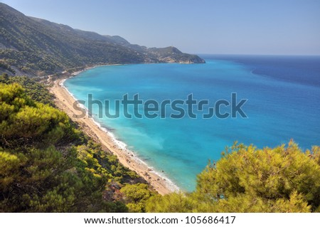Pefkoulia beach from Agios Nikitas resort,10 kilometres from Lefkada town ,surprised after a storm in the sea. - stock photo