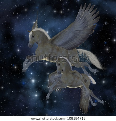 Pegasus 04 - A Palomino Pegasus mare and foal fly among the stars on magical wings. - stock photo