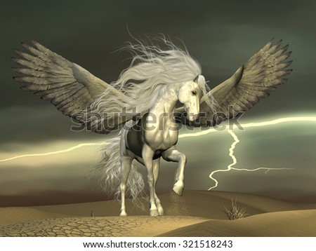 Pegasus and Dark Skies - A white Pegasus horse nervously paws the ground with outstretched wings as a thunderstorm passes by. - stock photo