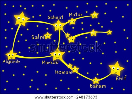 Pegasus constellation - stock photo