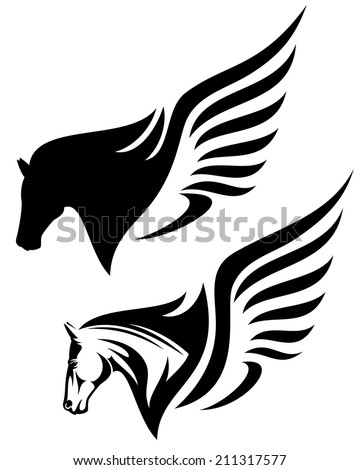 pegasus profile head design - winged horse black and white illustration - stock photo