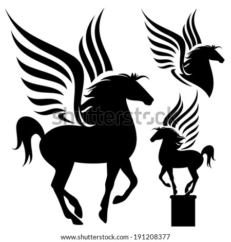pegasus silhouette design set - black winged horses on white - stock photo