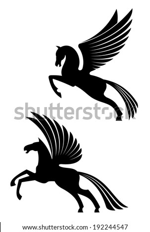 Pegasus winged horses isolated on white background for heraldry logo design. Vector version also available in gallery - stock photo