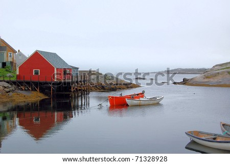 Peggy's Cove Harbour on a Cloudy Day - stock photo