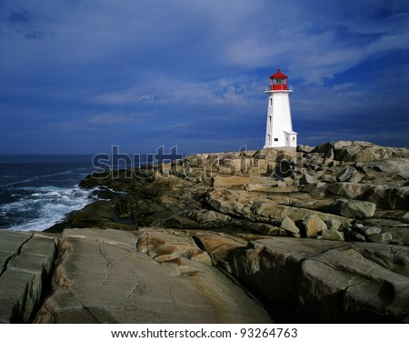 Peggy's Cove - Lighthouse in Nova Scotia's Peggy's Point (Atlantic Ocean), Canada - stock photo