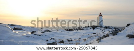 Peggy's Cove Lighthouse in Winter - stock photo