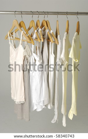 peignoir hanger display on gray background - stock photo