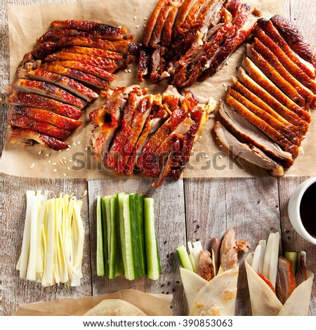Peking Duck on Parchment with Sauce - stock photo